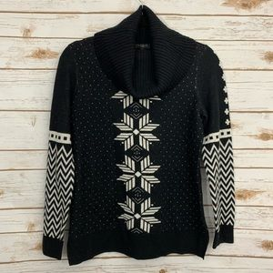 Talbots Nordic Snowflake Mixed Pattern Sweater